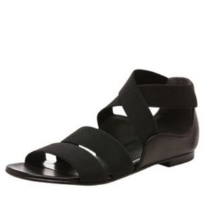 Stuart Weitzman Stretch Strappy Flat Sandal, black